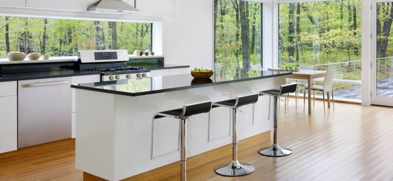 Modern kitchen window with glass