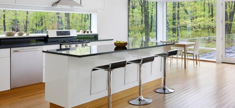 Modern kitchen window with glass