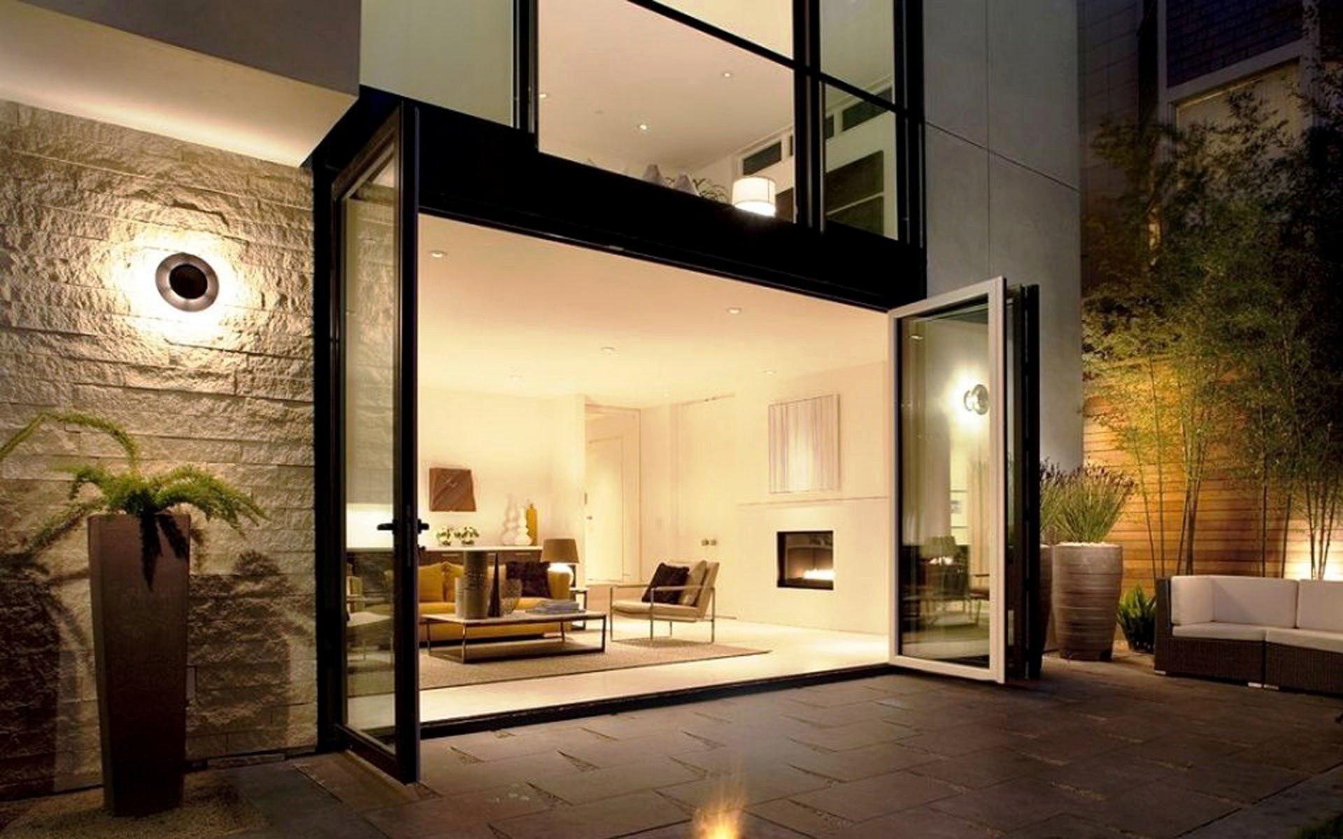 New modern house architecture, Beautiful House outdoor at night