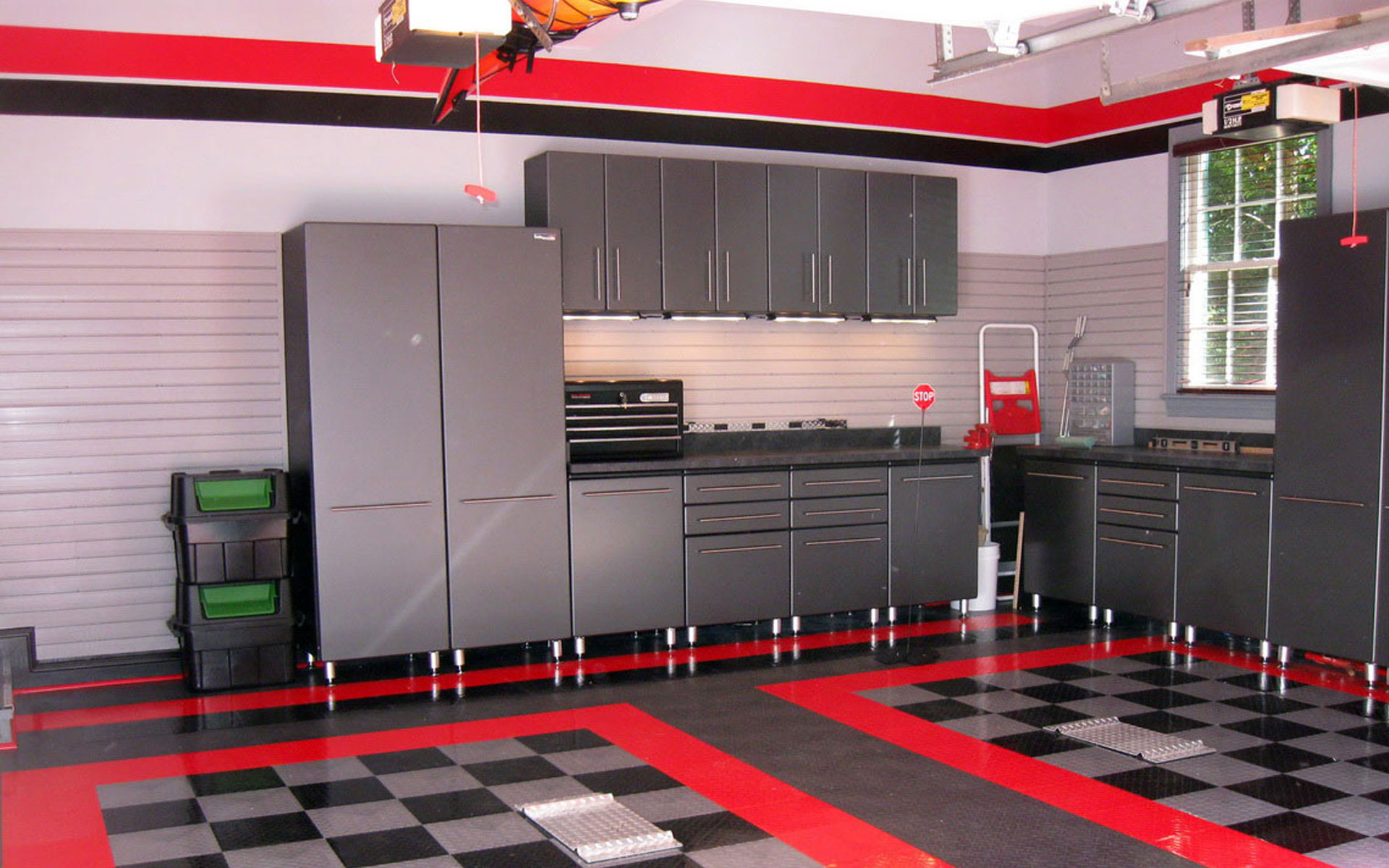 Modern kitchen interior with red color theme